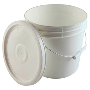 Plastic Bucket, Pail with Snap-on Lid, 2 gallon, case/6