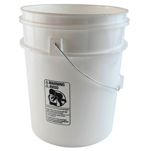 Pail with Lid, 5 gallon (22 Qt), No Lids, case/4
