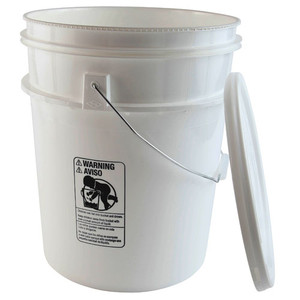 Pail with Lid, 5 gallon (22 Qt) with Snap-on Style Lid, case/4