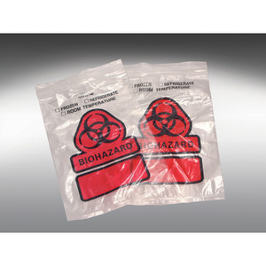 "12 x 15"" LDPE 2 MIL Clear Zip Bag Printed, Orange ""Biohazard"" 3 Wall, case/1000"