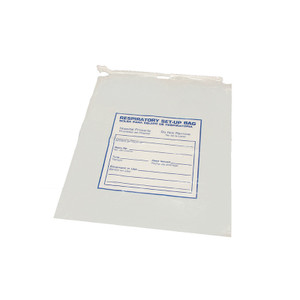 "12 x 15"" LDPE 2 MIL Clear Draw String Bag Printed, ""Respiratory Care"", case/500"