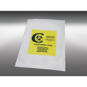 "12 x 15"" LDPE 4 MIL Clear Zip Bag Printed, Yellow ""Chemotherapy"", case/500"