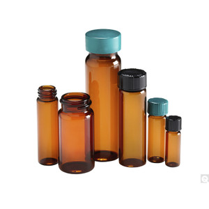 27.75 x 95mm 10 dram (40mL) Amber Vial, 24-400 PP F217 & PTFE Lined Caps, case/144