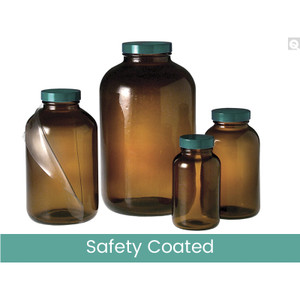 84oz (2500mL) Safety Coated Amber Wide Mouth Packer, 70-400 Green Thermoset F217 & PTFE Lined Caps, case/4