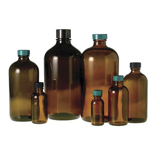32oz Amber Glass Boston Round, 33-400 PP Pulp/Vinyl Lined Caps