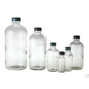 8oz (240mL) Glass Boston Round, 24-400 Green Thermoset F217 & PTFE Lined Caps, case/108