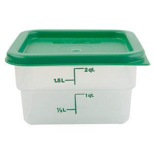 Graduated Square Containers with Lid, Polypropylene, 2 Qt, case/6