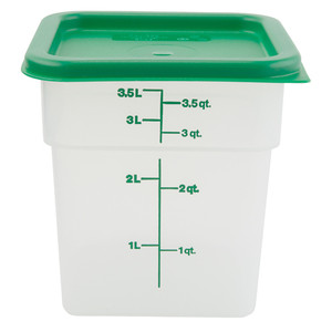 Graduated Square Containers with Lid, Polypropylene, 4 Qt, case/6