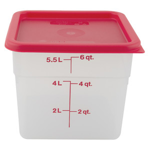 Graduated Square Containers with Lid, Polypropylene, 6 Qt, case/6