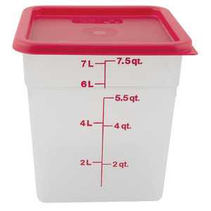 Graduated Square Containers with Lid, Polypropylene, 8 Qt, case/6