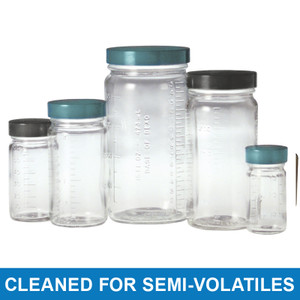 8 oz Clear Graduated Medium Rounds, 58-400 PP Cap & PTFE Disc, Cleaned for Volatiles, case/24