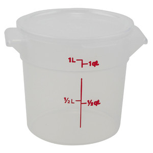 Graduated Round Containers, Polypropylene with Lid, 1 Qt, case/12