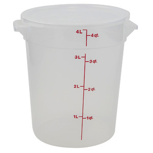 Graduated Round Containers, Polypropylene with Lid, 4 Qt, case/12