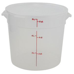 Graduated Round Containers, Polypropylene with Lid, 6 Qt, case/12