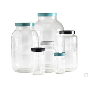 8oz Clear Wide Mouth Bottles, 58-400 Green Thermoset F217 PTFE Lined Caps, case/24