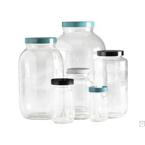 32oz Clear Wide Mouth Bottles, 70-400 White Metal Pulp/Aluminum Foil Lined Caps, case/12
