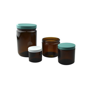 2oz (60mL) Amber Glass Straight Sided Jar, 53-400 Green Thermoset F217/PTFE Lined Caps, case/24
