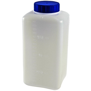 Bottles, Square Wide Mouth HDPE, 2000mL, pack/5