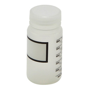 Wide Mouth Bottles, Polypropylene, Plain Label, Graduated 60mL, case/12
