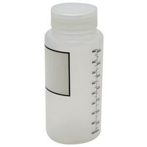 Wide Mouth Bottles, Polypropylene, Plain Label, Graduated 1000mL, case/6