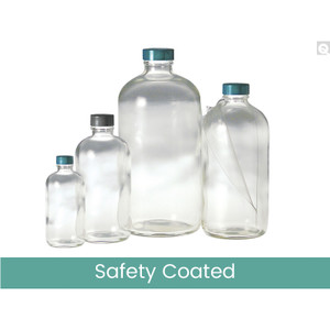8oz (240mL) Safety Coated Clear Boston Round, 24-400 Green Thermoset F217 & PTFE Lined Caps, case/108