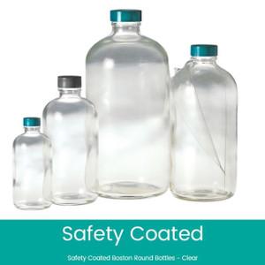8 oz Safety Coated Clear Boston Round Bottles, 24-400 Phenolic F217 & PTFE Lined Caps, case/108