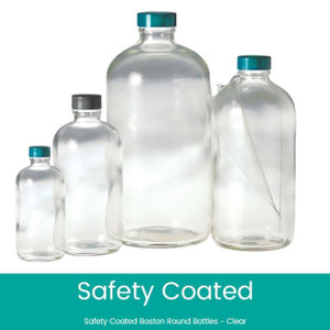 16 oz Safety Coated Clear Boston Round Bottles, 28-400 Phenolic Rubber Lined Caps, case/12