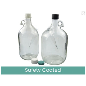 4L Safety Coated Clear Jug, 38-400 Green Thermoset F217 & PTFE Lined Caps, case/4