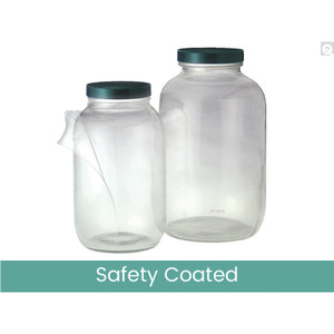 32oz Safety Coated Clear Wide Mouth Bottles, 70-400 White Metal Plastisol Lined Caps, case/12