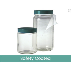 16oz (480mL) Safety Coated Clear Medium Round, 70-400 White Metal Plastisol Lined Caps, case/48