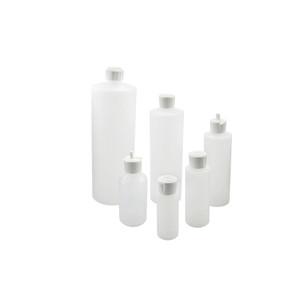 8oz (240mL) HDPE Cylinder Dispensing Bottle, 24-410 White PE Unlined Flip Top Caps, case/24