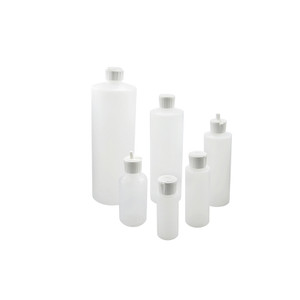 32oz HDPE Cylinder Dispensing Bottle, 28-400 White Polyethylene Unlined Flip Top Caps, case/66