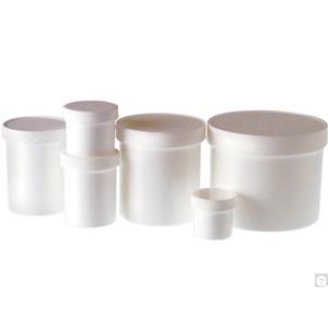 16oz (480mL) White PP Jar, 89-400 PP Unlined Caps, case/112