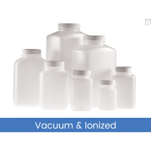17oz (500mL) HDPE Wide Mouth Oblong Bottle, 43-400 PP SturdeeSeal PE Foam Lined Caps, Vacuum & Ionized, case/160
