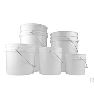 5 Gallon White HDPE Open Head, Warning Label, Metal Handle and Plastic Grip, case/10