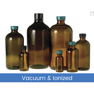 33oz (1000mL) Amber Glass Boston Round, 33-430 Phenolic F217 & PTFE Lined Caps Vacuum & Ionized, case/12