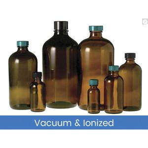 16oz Amber Glass Boston Round, 28-400 Phenolic Pulp/Vinyl Lined Cap, Vacuum & Ionized, case/12