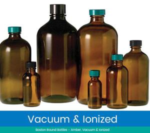 2 oz Amber Glass Boston Round Bottles, 20-400 Green Thermoset F217 & PTFE Lined Caps, Vacuum & Ionized, case/288