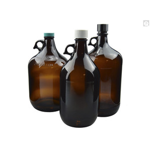 2.5L Amber Glass Jug, 38-400 Phenolic Rubber Backed/PTFE Faced Caps, case/6