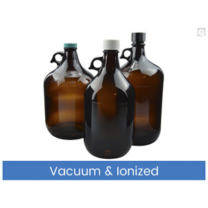 4L Amber Glass Jug, 38-430 Phenolic Cap F217 & PTFE Lined Caps Vacuum & Ionized, case/6