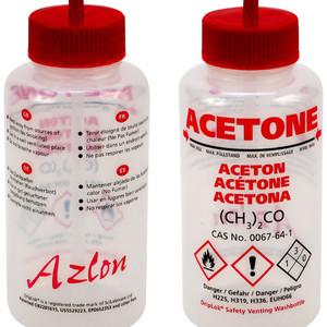 Pre-Labeled GHS Wash Bottles, Vented, 500mL, Choose Chemical, pack/5