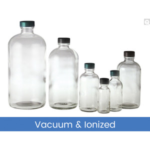 32oz Glass Boston Round, 33-400 Green Thermoset F217 & PTFE Lined Caps, Vacuum & Ionized, case/12