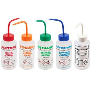 Pre-Labeled GHS Wash Bottles, Vented, 500mL, Assorted Set/5, pack/5