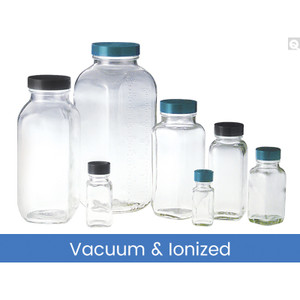 8oz (240mL) Clear French Square, 43-400 Green Thermoset F217 & PTFE Lined Caps Vacuum & Ionized, case/84