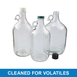 4L Clear Jug, 38-400 Green Thermoset F217 PTFE Lined Cap, Cleaned for Volatiles, case/4