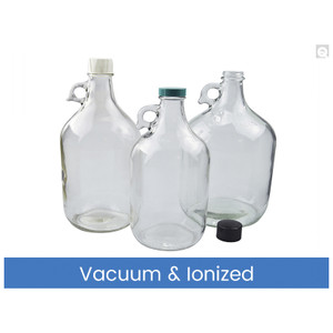 64oz (1920mL) Clear Jug, 38-400 Green Thermoset F217 & PTFE Lined Caps, Vacuum & Ionized, case/6