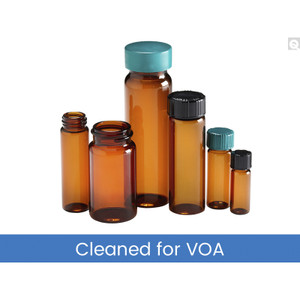 27.50 x 95mm 10 dram (40mL) Amber Vial, 24-414 White 1-Piece PP Hole Cap & PTFE/Silicone Septa, Cleaned & Certified to EPA Standards for Volatiles, case/72