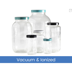 4L Clear Wide Mouth Bottles, 89-400 Green Thermoset F217 & PTFE Lined Caps, Vacuum & Ionized, case/4