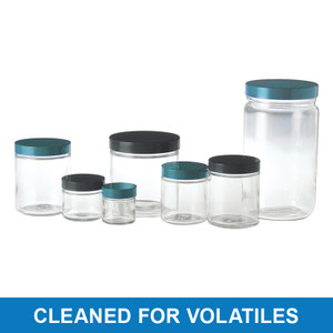 8oz Clear Straight Sided Jar, 70-400 PP Cap & PTFE Disc, Cleaned for Volatiles, case/24