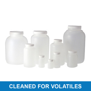 250mL HDPE Wide Mouth Round, 53-400 Green Thermoset F217 PTFE Lined Cap, Cleaned for Volatiles, case/48